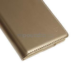 PU kožené pěněženkové pouzdro s okýnkem Samsung Galaxy E5 - zlaté - 7