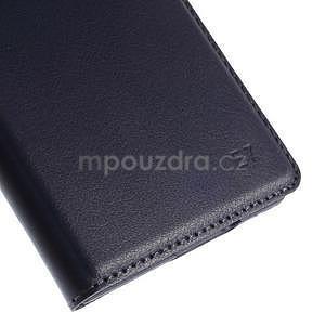 PU kožené pěněženkové pouzdro s okýnkem Samsung Galaxy E5 - tmavě modré - 7