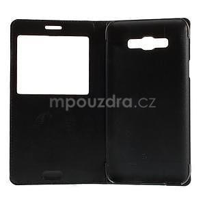 PU kožené pěněženkové pouzdro s okýnkem Samsung Galaxy E5 - černé - 7