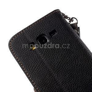 Černé/hnědé zapínací peněženkové pouzdro na Samsung Galaxy Grand Prime - 7