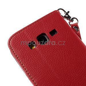 Červené/hnědé zapínací peněženkové pouzdro na Samsung Galaxy Grand Prime - 7
