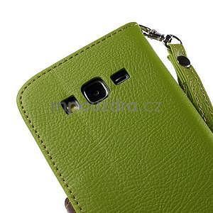Zelené/hnědé zapínací peněženkové pouzdro na Samsung Galaxy Grand Prime - 7