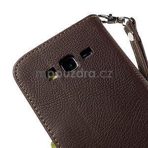 Hnědé/zelené zapínací peněženkové pouzdro na Samsung Galaxy Grand Prime - 7