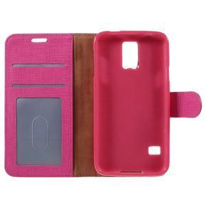 Clothy Pu kožené pouzdro na Samsung Galaxy S5 - rose - 7