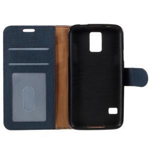 Clothy Pu kožené pouzdro na Samsung Galaxy S5 - tmavěmodré - 7