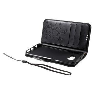 Butterfly PU kožené pouzdro na mobil Samsung Galaxy S6 Edge - černé - 7