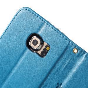 Butterfly PU kožené pouzdro na mobil Samsung Galaxy S6 Edge - modré - 7