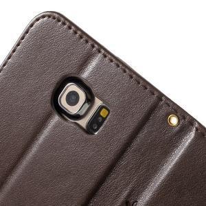 Butterfly PU kožené pouzdro na mobil Samsung Galaxy S6 Edge - coffee - 7