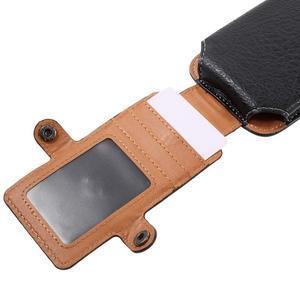 Cestovní PU kožené peněženkové pouzdro do rozměru 150 x 73 x 15 mm - černé - 7
