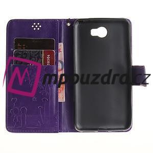 Dandelion PU kožené pouzdro na Huawei Y5 II - fialové - 7
