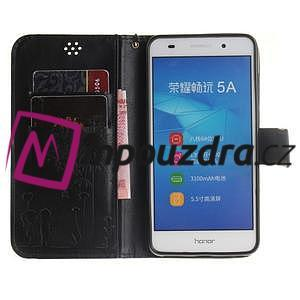 Dandelion PU kožené pouzdro na Huawei Y6 II a Honor 5A - černé - 7