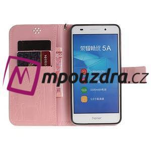 Dandelion PU kožené pouzdro na Huawei Y6 II a Honor 5A - růžové - 7