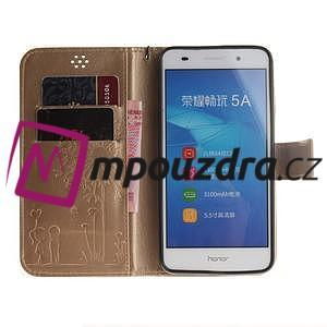 Dandelion PU kožené pouzdro na Huawei Y6 II a Honor 5A - zlaté - 7