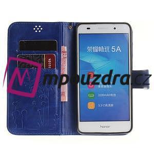 Dandelion PU kožené pouzdro na Huawei Y6 II a Honor 5A - modré - 7