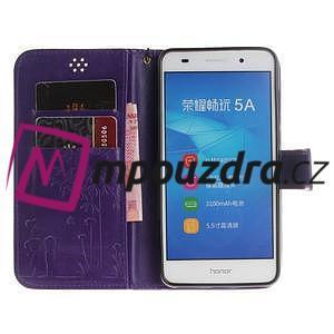 Dandelion PU kožené pouzdro na Huawei Y6 II a Honor 5A - fialové - 7