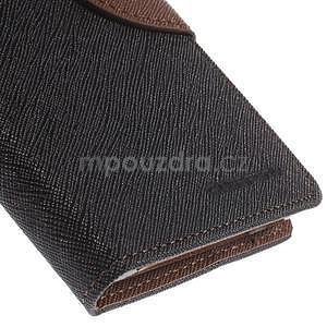 PU kožené peněženkové pouzdro na Nokia Lumia 830 - černé/hnědé - 7