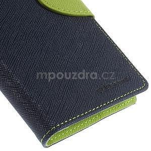 PU kožené peněženkové pouzdro na Nokia Lumia 830 - tmavě modré - 7