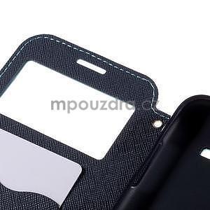 PU kožené pouzdro s okýnkem pro Samsung Galaxy J5 - světle modré - 7