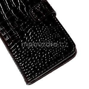 PU kožené pouzdro s imitací krokodýlí kůže Samsung Galaxy J5 - tmavě hnědé - 7