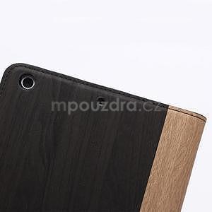 Koženkové pouzdro s imitací dřeva na iPad Mini 3, iPad Mini 2, iPad mini - tmavě šedé - 7