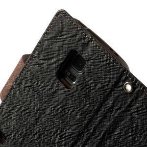 Diary PU kožené pouzdro na Samsung Galaxy S5 mini - černé/hnědé - 7