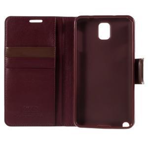 Setsnow PU kožené pouzdro na Samsung Galaxy Note 3 - vínové - 7
