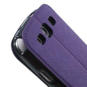 Peněženkové pouzdro s okýnkem pro Samsung Galaxy S3 / S III - fialové - 7
