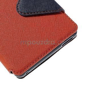 Peněženkové pouzdro s okýnkem pro Sony Xperia M4 Aqua - oranžové - 7