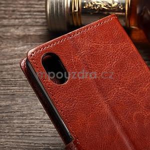Koženkové pouzdro Sony Xperia M4 Aqua - hnědé - 7