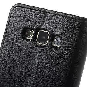 Černé PU kožené peněženkové pouzdro na Samsung Galaxy A3 - 7