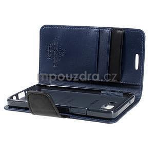 Tmavě modré PU kožené peněženkové pouzdro na Samsung Galaxy A3 - 7