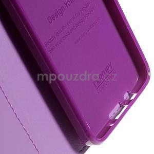 Fialové PU kožené peněženkové pouzdro na Samsung Galaxy A3 - 7