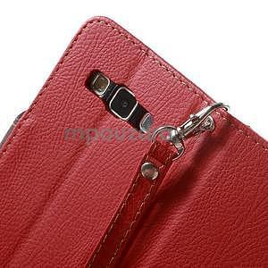 Červené/hnědé PU kožené pouzdro na Samsung Galaxy A3 - 7