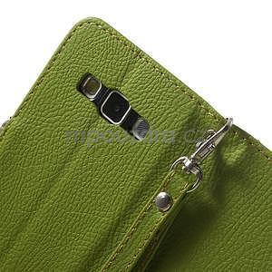 Zelené/hnědé PU kožené pouzdro na Samsung Galaxy A3 - 7