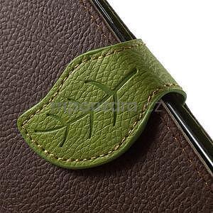Hnědé/zelené PU kožené pouzdro na Samsung Galaxy A3 - 7