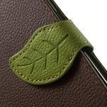 Hnědé/zelené PU kožené pouzdro na Samsung Galaxy A3 - 7/7