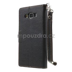 Černé/hnědé PU kožené pouzdro na Samsung Galaxy A5 - 7