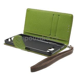 Hnědé/zelené PU kožené pouzdro na Samsung Galaxy A5 - 7