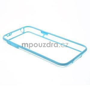 Světle modrý gelový kryt s plastovými lemy na Samsung Galaxy S5 mini - 7