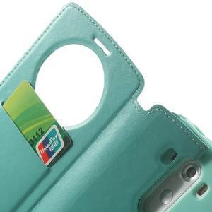 Roar peněženkové pouzdro s okýnkem na LG G3 - cyan - 7