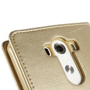 Luxusní PU kožené pouzdro na mobil LG G3 - zlaté - 7