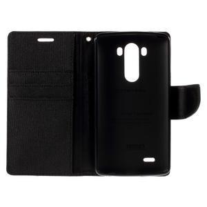 Canvas PU kožené/textilní pouzdro na LG G3 - černé - 7