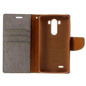 Canvas PU kožené/textilní pouzdro na LG G3 - šedé - 7