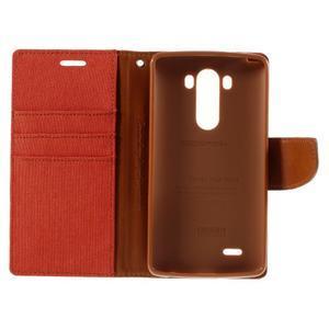 Canvas PU kožené/textilní pouzdro na LG G3 - oranžové - 7