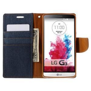 Canvas PU kožené/textilní pouzdro na LG G3 - tmavěmodré - 7