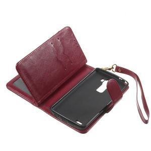 Patrové peněženkové pouzdro na mobil LG G3 - vínově červené - 7