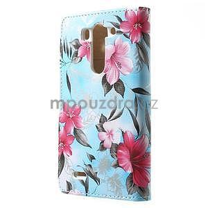 Elegantní lilie peněženkové pouzdro na LG G3 s - tyrkysové - 7
