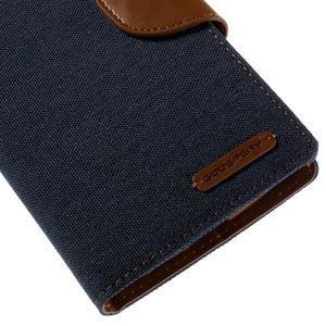 Canvas PU kožené/textilní pouzdro na mobil LG G4 - tmavěmodré - 7