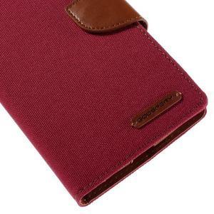 Canvas PU kožené/textilní pouzdro na mobil LG G4 - červené - 7