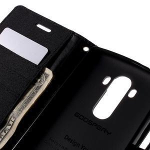 Canvas PU kožené/textilní pouzdro na mobil LG G4 - černé - 7